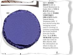 Laura Mercier Tightline Cake Eyeliner in Bleu Marine. Beauty / Bathroom Confidential. Clipped from Marie Claire using Netpage.