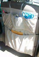On-The-Road Organization - DIY backseat car organizer - this has possibilities.