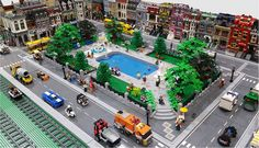 """This is my first time posting in the town forum. I just wanted to share a MOC I built for our local Lego show """"BrickExpo"""" in late July Lego City Train, Lego Trains, Lego Modular, Brick Building, Lego Building, Lego Friends, Friends Set, Lego Duplo, Legos"""