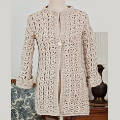 broomstick lace #crochet cardigan pattern for sale from Mon Petit Violon