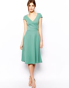 ASOS Midi Skater Dress With Full Skirt And Wrap Front in Ponte