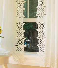 White Shabby Battenburg Lace Valance Country Curtain