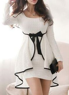 Shop Korean Style White Round Neck Long Sleeve Short Day Dress on sale at Tidestore with trendy design and good price. Come and find more fashion Short Day Dresses here. Day Dresses, Cute Dresses, Dress Outfits, Casual Dresses, Short Dresses, Dress Up, Bodycon Dress, Elegant Dresses, Beautiful Dresses