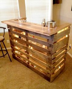 custom hand-built style of wooden pallet bar with LED lights --- 50+ Best-loved Pallet Bar Ideas & Projects | 101 Pallet Ideas - Part 2