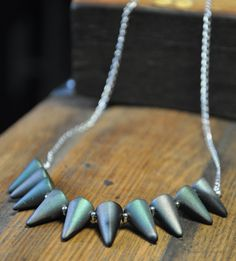 Matte Black Spiky Necklace by thecrabbydragon on Etsy