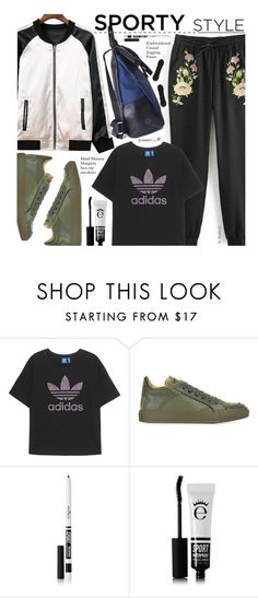 """Sporty Style - Bomber Jacket"" by beebeely-look ❤ liked on Polyvore featuring adidas Originals, MM6 Maison Margiela, Eyeko, sporty, sammydress, bomberjackets, adiddas and sportystyle"
