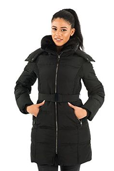 Kenneth Cole New York Womens Down Coat with Faux Fur-Trim   Striped Belt 4bc2e4a34