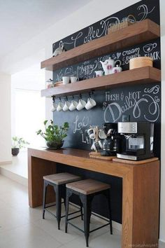 The best ways to build your own Coffee Area at Work, these ideas will blow your mind Coffee Bars In Kitchen, Coffee Bar Home, Home Coffee Stations, Breakfast Bar Kitchen, Breakfast Bars, Breakfast Nook, Bar In Kitchen, Breakfast Buffet, Coffee Corner Kitchen