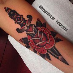 Dagger rose combo #dagger #rose #traditional #tattoo @salonserpenttattoo