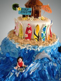 Surf's up! - Surf themed cake decorated with fondant, frosting and crushed cookies.