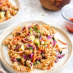 Protein Packed Thai Pasta Salad is a healthy 20 minute dinner recipe. It packs in over 18 grams of protein and is full of veggies! Tomato Pasta Salad, Easy Pasta Salad Recipe, Pasta Salad Italian, Pasta Recipes, Dinner Recipes, Bbq Salads, Asian Salads, Thai Pasta, Speedy Dinners