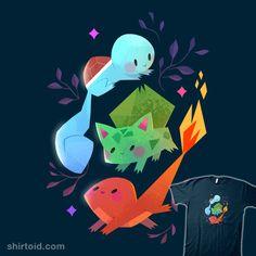 """Starters"" by tinysnails Pokémon starters Squirtle, Bulbasaur, and Charmander Illustrations, Illustration Art, Pikachu, Pokemon Mewtwo, Charizard, Pokemon Starters, Pokemon Pictures, Pokemon Images, Bulbasaur"