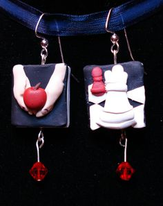 Twilight book earrings made of polymer clay by MJsArtistry on Etsy, $15.00