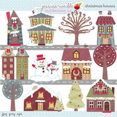 Christmas Houses - Cute Digital Clipart - Commercial Use OK, Christmas House Clipart, Christmas Graphics, Christmas Clipart