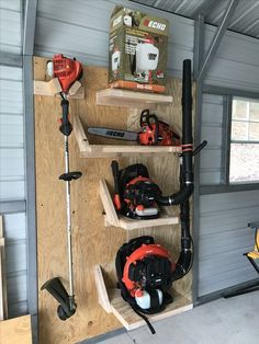 garage ideas storage Storage for those oddly shaped tools and lawn equipment Storage for those oddly shaped tools and lawn equipment Woodworking tools for the home Home Woodworking Storage Shed Organization, Garage Organisation, Garage Tool Storage, Garage Tools, Garage Shop, Yard Tool Storage Ideas, Craft Storage, Storage Hacks, Storage Sheds