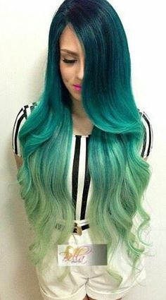 Green ombre long hair