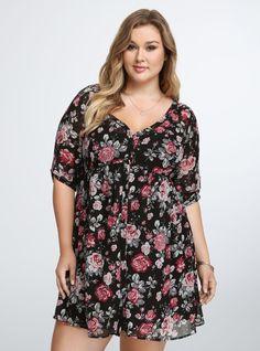 Plus Size Floral Chiffon Shirt Dress