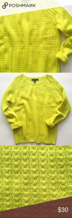 "Yellow Knit Sweater Fun, bright highlighter yellow guaranteed to turn some heads • waffle knit • acrylic material will keep you cozy  • when laying flat: bust 21"", length 25.5"" • Accepting reasonable offers! Sweaters"