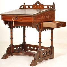 Antique American Kimbel and Cabus Aesthetic Movement Gothic Desk Secretary 1875 | eBay