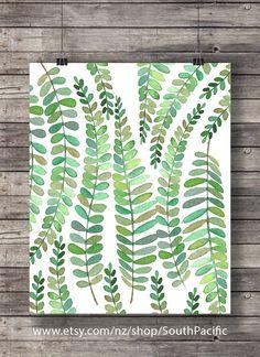 Groene aquarel fern afdrukken | Afdrukbare kunst | schilderij fern blad natuur print | Aquarel blad botanische illustratie |  groen