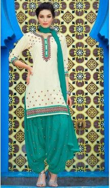 Light Cream Color Cotton Straight Cut Stitched Patiyala Suit with Dupatta…