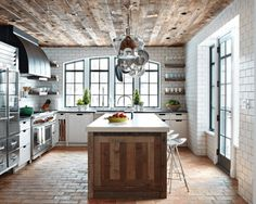 cool kitchen with brick floor and ceiling