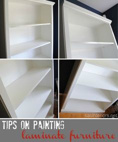 how to paint laminate furniture, painted furniture, shelving ideas, Tips on painting laminate Furniture Projects, Furniture Makeover, Home Projects, Home Furniture, Modern Furniture, Furniture Refinishing, Painting Laminate Furniture, Painted Furniture, Painting Cabinets