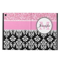 Girly, Pink, Glitter Black Damask Personalized Case For iPad Air We have the best promotion for you and if you are interested in the related item or need more information reviews from the x customer who are own of them before please follow the link to see fully reviewsReview          ...
