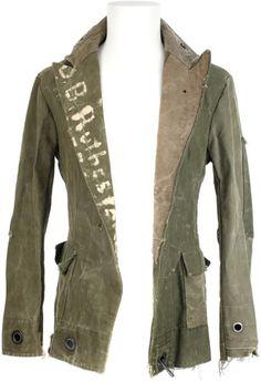 Greg Lauren Green Vintage Military Canvas Blazer Jacket
