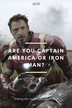 """Since the two superheroes starred in the 2016 blockbuster """"Captain America: Civil War,"""" people have been wondering, whose side they would be on. Are you Captain America or Iron Man? Let us find out! All Marvel Heroes, Captain Marvel, Marvel Avengers, Marvel Comics, Captain America Sheild, Captain America Quotes, Comic Book Characters, Comic Books, Iron Man"""