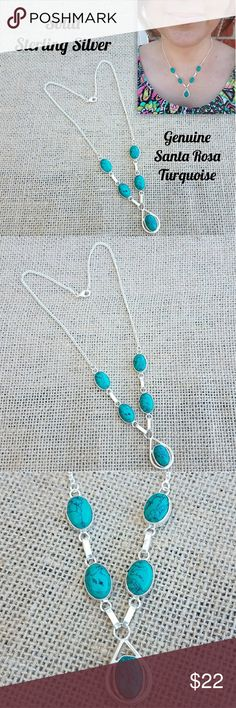 """🌹 Santa Rosa Turquoise Sterling Silver Necklace 🌹I'm currently running an additional sale. See listing at the top of my closet for details.🌹  **PRICE FIRM UNLESS BUNDLED!**  This beautiful necklace is new & solid sterling silver w/genuine Santa Rosa Turquoise stones. The turquoise is between green & blue. It's approximately 16""""-18"""" long w/a lobster clasp. The price reflects the small defect in the metal (4th pic). Stone's secure.  *This is handmade, so it's not perfect. Please look at the…"""