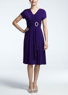 Short Sleeve Jersey Dress with Rhinestone Ring 3869