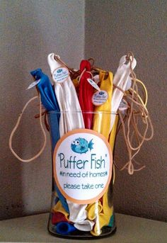 """""""Under the Sea"""" Puffer Fish party favors....LOVE this, down to the sticker! For a party favor that doesn't immediately get broken/thrown away."""