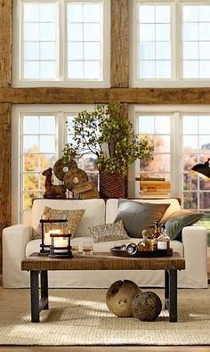 classic living room with wood beams
