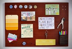 IKEA Hackers: How to Make a Woodgrain Magnetic Memo Board and Tool Storage - Memo Boards, Diy Memo Board, Magnetic Memo Board, Cork Boards, Ikea Hacks, Magnetic Paint, Fru Fru, Office Makeover, Contact Paper