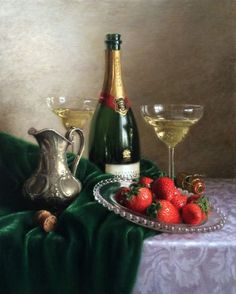 Strawberries and Champagne Apple Art, Wine Table, Dutch Golden Age, Still Life Oil Painting, Food Painting, Visual Communication, Pomegranate, Be Still, Red Wine
