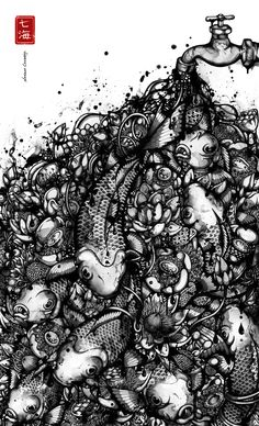 Overflow   by Nanami Cowdroy (I have this art work on the back of my longboard !!! )