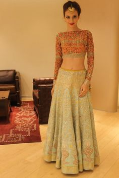 Anju Modi new collection sneak peek at Vogue Bridal Studio blue lehenga Indian Attire, Indian Ethnic Wear, Indian Wedding Outfits, Indian Outfits, Indian Weddings, Bride Indian, Wedding Dresses, Pakistani Dresses, Indian Dresses