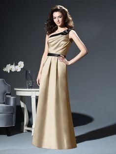 A-line One Shoulder Satin Floor-length Ruched Bridesmaid Dresses at Millybridal.com