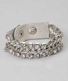 Another great find on #zulily! Silver Rhinestone Link Bracelet #zulilyfinds