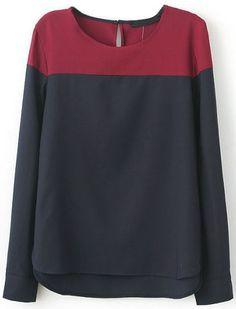 Black Contrast Red Long Sleeve Dipped Hem Blouse EUR€16.66