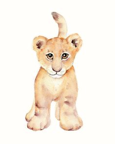 Lion Cub Nursery Watercolor print 8 X 10 by Marysflowergarden