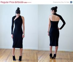 20% SALE Black One-Shoulder Pencil Dress / Midi Dress / marcellamoda Signature Design - LBD - Model 03-1