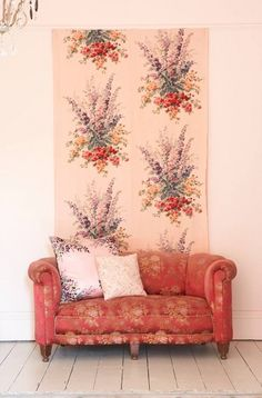 fancy couch, fancy florals, fancy tapestry