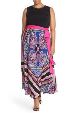 Eliza J Scarf Print Jersey & Crêpe de Chine Maxi Dress (Plus Size)