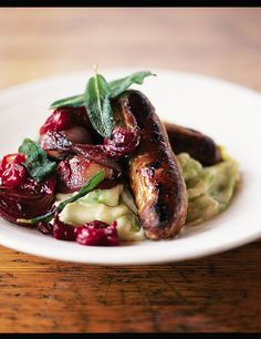 Sausages with pan cooked chutney & leek mash via Jamie Oliver