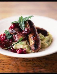 Sausages with pan cooked chutney & leek mash via Jamie Oliver
