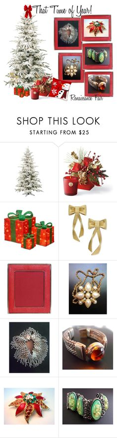 """""""That Time of Year!"""" by renaissance-fair ❤ liked on Polyvore featuring Frontgate, National Tree Company, Kate Spade, Gripoix, Selro and vintage"""