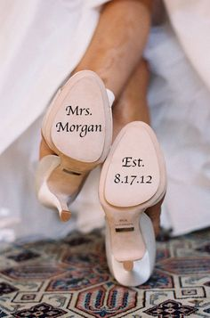 "Personalized wedding date and name decals for bridal shoes. I like these much better than the ""I Do"" decals. So cute Wedding Heels, Wedding Dresses With Bling, Diy Wedding Shoes, Bridal Shoes, Wedding Wishes, Our Wedding, Wedding Engagement, Perfect Wedding, Wedding Things"