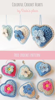 Make this beautiful little crochet hearts. Link to the free pattern. Hearts are made by Dada's place. Dada's place is the place to visit if you love colorful and modern crochet, free patterns… Free Heart Crochet Pattern, Crochet Motif, Crochet Flowers, Crochet Hearts, Free Pattern, Crochet Bunting, Crochet Gifts, Cute Crochet, Crochet Baby